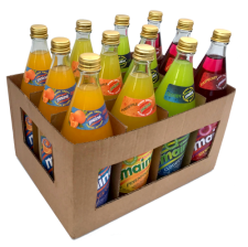 A case made up of 3 Maine Orange Crush, 3 Maine Pineapple, 3 Maine Cloudy Lime & 3 Maine Raspberry