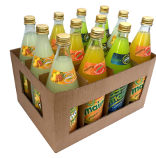 A case of 12 glass bottles made up of 4 Maine Splice, 4 Maine Pineapple & 4 Maine Cloudy Lime