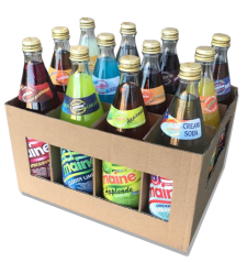 A mixture of 12 of the most popular Maine flavours in returnable glass bottles